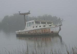 abandoned boat in cedar key